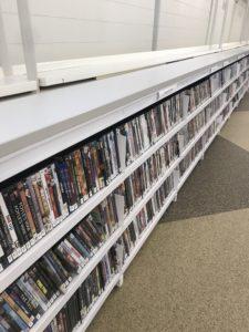 Long shelves of DVD cases